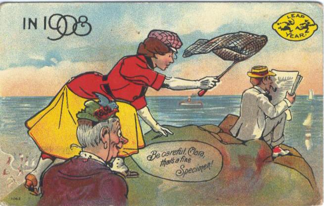 PostcardLeapYearBeCarefulClara1908